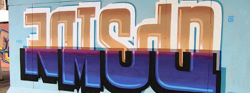 Graffiti that says upside down