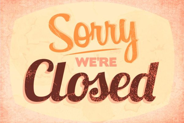 Sorry We're Closed Text