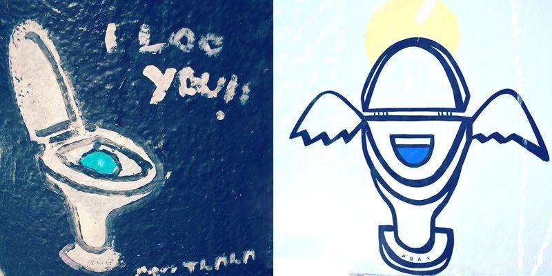 graffiti artwork of toilets by matlakas