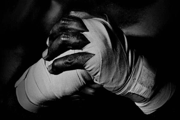 Boxers hands wrapped in tape