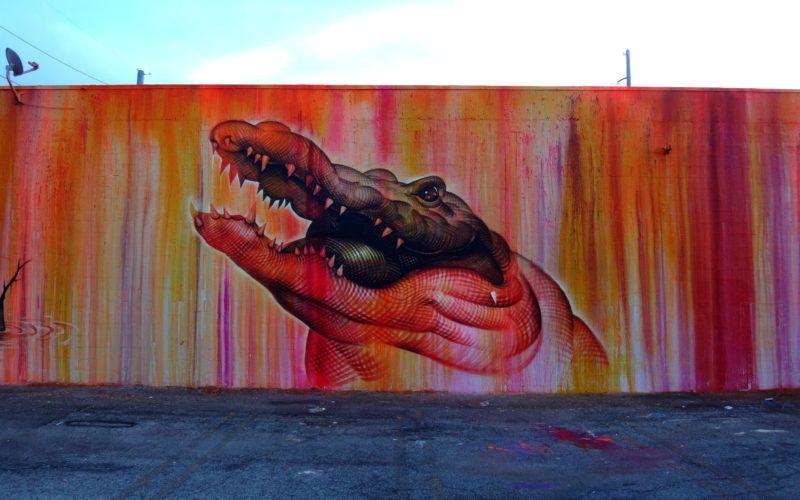 graffiti of a crocodile