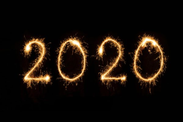 2020 spelled with fireworks